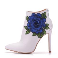 Женщины кожа Высокий тонкий каблук Ботинки На каблуках с Цветок (047149243)
