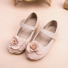 Fille de Bout fermé similicuir talon plat Chaussures plates Chaussures de fille de fleur avec Une fleur (207095559)