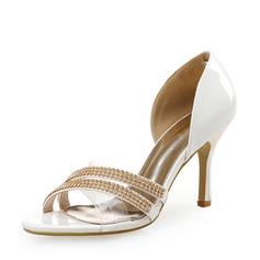 Kvinner Lær Stiletto Hæl Sandaler Titte Tå med Annet Elastisk bånd sko (087113607)