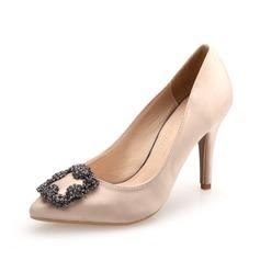 Женщины Атлас Высокий тонкий каблук На каблуках Закрытый мыс с горный хрусталь обувь (085071179)