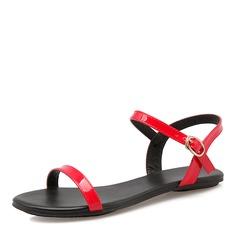 Женщины Лакированная кожа Плоский каблук Сандалии На плокой подошве с пряжка обувь (087157102)
