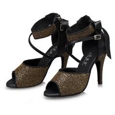 Женщины ткань На каблуках Сандалии Латино с В дырочку Обувь для танцев (053105225)