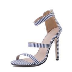Frauen Baumwollstoff Stöckel Absatz Sandalen Absatzschuhe Peep Toe mit Schnalle Schuhe (087151070)