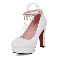 Women's Leatherette Stiletto Heel Closed Toe Pumps With Rhinestone (047117213)