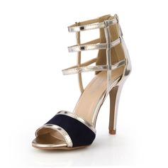 Женщины кожа Высокий тонкий каблук Сандалии На каблуках Открытый мыс с Застежка-молния обувь (087051705)
