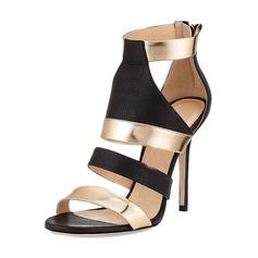 Женщины PU Высокий тонкий каблук Сандалии На каблуках Открытый мыс с Соединение врасщеп обувь (087157085)