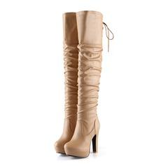 Женщины кожа Устойчивый каблук Сапоги до колен с Ruched обувь (088096255)