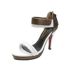 Konstläder Stilettklack Sandaler med Zipper skor (087050261)