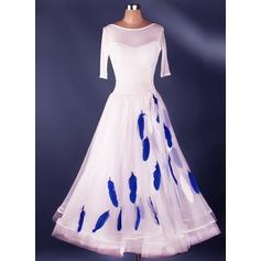 Женщины Одежда для танцев Спандекс Органза Латино Платья (115091480)