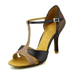 Женщины Атлас На каблуках Сандалии На каблуках Латино Обувь для танцев (053095779)
