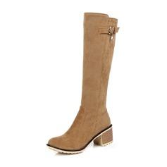 Женщины Замша Устойчивый каблук Ботинки Сапоги до колен с пряжка Застежка-молния обувь (088143736)