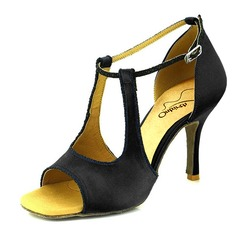 Женщины Атлас На каблуках Сандалии На каблуках Латино Обувь для танцев (053095742)