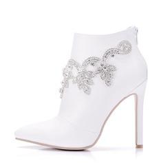 Женщины кожа Высокий тонкий каблук Ботинки На каблуках с горный хрусталь (047149241)