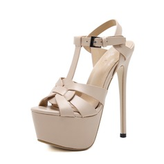 Women's PU Stiletto Heel Sandals Pumps Peep Toe Slingbacks With Buckle shoes (087151061)