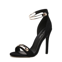 Women's Suede Stiletto Heel Sandals Pumps Peep Toe With Buckle shoes (087151066)