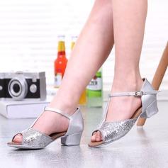 Женщины кожа На каблуках Латино с пряжка блестками Обувь для танцев (053102970)