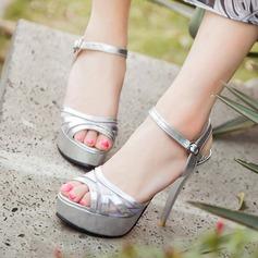 Женщины PU Высокий тонкий каблук Сандалии На каблуках Платформа Открытый мыс Босоножки с горный хрусталь обувь (117156846)