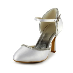 Vrouwen Satijn Stiletto Heel Closed Toe Pumps met Bergkristal (047024563)