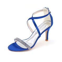 Women's Satin Stiletto Heel Peep Toe Sandals (047093841)