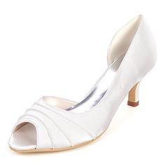 Women's Silk Like Satin Stiletto Heel Peep Toe Pumps With Ruffles (047167835)