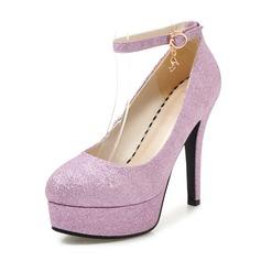Женщины PU Высокий тонкий каблук На каблуках Платформа с пряжка обувь (117153700)