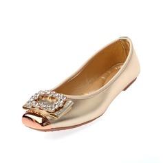 Konstläder Flat Heel Platta Skor / Fritidsskor Stängt Toe med Strass skor (086054134)