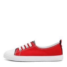Женщины Холст Плоский каблук На плокой подошве Закрытый мыс с Шнуровка обувь (086164460)