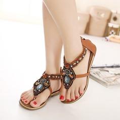 Женщины кожа Плоский каблук Сандалии с развальцовка заклепки Застежка-молния Цепь обувь (087119001)