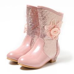 девичий Закрытый мыс Сапоги до середины голени дерматин низкий каблук Ботинки Обувь для девочек с Цветок (207100963)