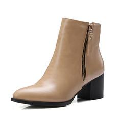 Женщины кожа Устойчивый каблук Полусапоги обувь (088092727)