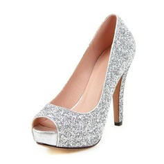 Women's Sparkling Glitter Stiletto Heel Pumps Sandals (047146150)