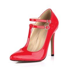 Couro Brilhante Salto agulha Fechados com Fivela sapatos (085042680)