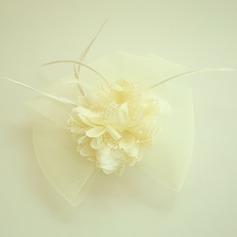 Senhoras Bonito Fio rede/Pena/Flor de seda A testa de jóias/Chapéu (042143667)