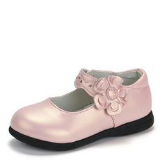 Jentas Round Toe Lukket Tå Leather flat Heel Flate sko Flower Girl Shoes med Velcro Blomst (207167104)