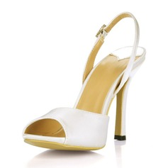 Women's Silk Like Satin Stiletto Heel Peep Toe Sandals Slingbacks (047016987)