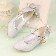 Jentas Lukket Tå Leather lav Heel Pumps Flower Girl Shoes med Bowknot Glitrende Glitter Velcro (207134066)