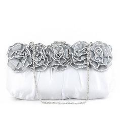 Elegante Cetim/Seda com Flor Embreagens (012032872)