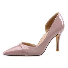 Женщины Лакированная кожа Высокий тонкий каблук На каблуках Закрытый мыс обувь (085092466)