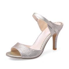 Женщины кожа Высокий тонкий каблук Сандалии Открытый мыс обувь (087086207)