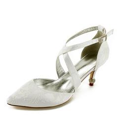 Женщины Кружева кожа Каблук Закрытый мыс На каблуках Сандалии с Каблуки с кристаллами (047166039)