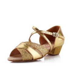 Mulheres Crianças Couro Sandálias Salão de Baile com Correia de Calcanhar Sapatos de dança (053041585)