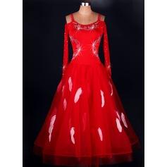 Женщины Одежда для танцев Спандекс Органза Латино Платья (115091492)