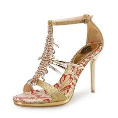 Donna Glitter scintillanti Tacco a spillo Stiletto Sandalo con Strass Glitter scintillanti Cristallo (047105593)