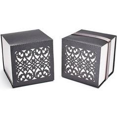 Chica Kinesisk Stil Cubic Favör Boxas med Färgband (Set om 12) (050025741)