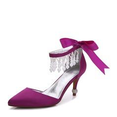 Women's Silk Like Satin Stiletto Heel Pumps Sandals With Bowknot Imitation Pearl (047142858)