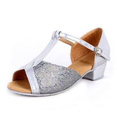 Детская обувь кожа Мерцающая отделка На каблуках Сандалии Латино с Т-ремешок Обувь для танцев (053065746)