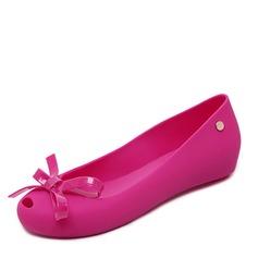 Kvinner PVC Flate sko Titte Tå med Bowknot sko (086165237)