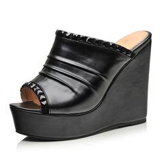 Mulheres Couro Plataforma Sandálias Calços com Strass sapatos (087047635)
