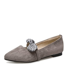 Женщины Замша Плоский каблук На плокой подошве Закрытый мыс с бантом обувь (086153772)