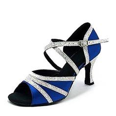 Women's Satin Sparkling Glitter Heels Latin Dance Shoes (053146263)